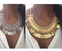 Wholesale India Ethnic - Top Grade Bib chokers Necklace Gypsy Bohemian Beachy Chic Silver Coin Statement Necklaces Boho Fringe Ethnic Turkish India Tribal Free 249WH