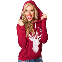 c8e8caa63c6 2017 Hot Women s T Shirts Christmas Tee Long Sleeve Casual Loose Womens  Cute Deer Printed Hooded Shirts Pullover Tops Plus Size S-XL