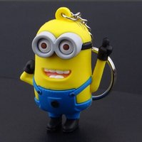Wholesale Doll Minion 3d - 3D 2015 cartoon Despicable Me 2 keychain car pendant small yellow people Minion key chain doll PVC for christmas gift
