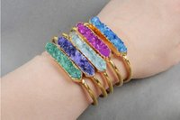 Wholesale Rainbow Druzy - Wholesale-Crystal Bracelet Bangle 24K Gold Plated Oval Rainbow Crystal Rhinestone Bangle Natural Geode Quartz Druzy Bangles G276