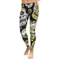 leggings florais amarelas venda por atacado-Novo crânio amarelo de impressão digital leggings robô sexy calças justas yoga calças calças casuais