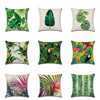 Wholesale chair covers linens - Tropical Plant Printed Cushion Cover Green Leaves Linen Pillow Case Chair Car Sofa Pillow Cover Home Decorative OOA3752
