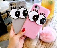 Wholesale Diy Hard Iphone Cases - New For iPhone 6 6S Plus 6SP DIY Cute Sexy Big Eyes With Luxury Rabbit Fur Ball Pendant Plush Hard PC Phone Cases