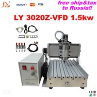 Wholesale Vfd Free Shipping - Free tax&ship to Russia desktop Ball Screw metal etching machine 3020 Z-VFD 1.5KW wood PCB engraving machine with 1.5KW VFD