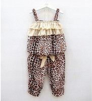 Wholesale Thin Suspenders Wholesale - Summer Kids Leopard Striped Ruffles Suspender Tops+Pants 2 Pieces Outfits Children Clothing Vest Layered Bow Short Pants Sets Thin Clothing