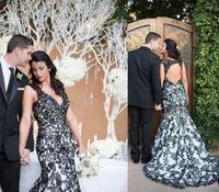 Wholesale Keyhole Real Wedding Dress - Sexy Keyhole Back Mermaid Wedding Dresses 2016 Deep V Neck Sweep Train Black Lace Summer Garden Gothic Bridal Wedding Gown Cheap Custom Made
