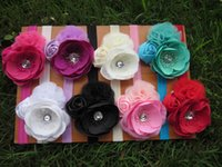 Wholesale Shabby Kid - New design Kids headband rose flower baby headband shabby headband cute headband for girl hair accessory 8pcs lot free shipping