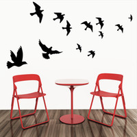 Wholesale flying birds art - Flying Pigeon Bird Wall Art Stickers Decal DIY Home Decoration Wall Mural Removable Living Room Bedroom Decor