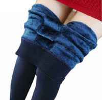 Wholesale Thick Fleece Legging Pants - Hot Sale fashion women's Fleece warm leggings Women winter velvet High elastic High waist thick legging slim leggins Step pants