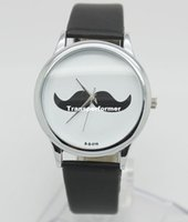 Wholesale Leather Moustache Watch - Round Face Women Men Leather Beard Moustache Quartz Watches 300pcs Free Shipping