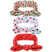 Wholesale Mouse Hairband - Girls bowknot printing headband cute baby Christmas hairband colorful dots Xmas tree Mice printing hair accessory