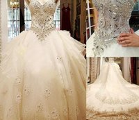 Wholesale Strapless Cathedral Train Wedding Dress - Bling Bling Luxury Crystal Cathedral Train Ball Gown Wedding Dresses with Strapless Sweetheart Lace Applique Tulle Long Bridal Gowns 2017