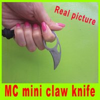 Wholesale Utility Pictures - Real pictures MC mini claw knife karambit knives tactical camping utility knives Survival knife with leather sheath 384L
