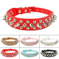 Wholesale Cool Spike Dog Collars - New Spiked Studded Cool Rivets PU Leather Dog Pet Puppy Collars for Small Dogs
