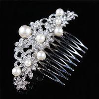 Pettine per capelli da sposa Shinning Crystal e Faux Pearl Flower Hair  Jewelry Girls Hair Decorations H002 eb7bd2204144
