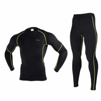 Wholesale Jersey Winter Compression - Wholesale-ARSUXEO N56 Men's Cycling Base Layer Set Winter Thermal Warm Compression Stretchy Clothing Bike Bicycle Sport Jersey Pants
