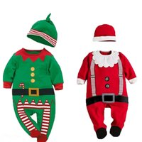 Wholesale Baby Chrismas - Wholesale-0-24 Months Kawaii Chrismas Funny Baby Clothes Long Sleeve Green Red Santa Claus Winter Rompers Baby Boy Clothing Cosume