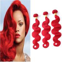 tramas de extensão de cabelo vermelho venda por atacado-Onda Do corpo Extensões de Cabelo Vermelho Brasileiro 9A Virgem Cabelo Brasileiro Dupla Wefts Cor Vermelha Virgem Do Cabelo Weave Bundles 3 Pcs Lot