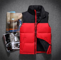 Wholesale Men Vests Cotton Outdoor - Hot 2018 men DOWN winter down jacket North Polartec vest Male Sports Hooded Jackets Bomber Collar With Zippers Outdoor face Coats