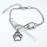 Wholesale Cheap Cat Jewelry - Wholesale-Infinity 8 Love Charm Dangle With Dog Cat Paw Print Pendant Chain Bracelet Cheap Fashion Pet Jewelry