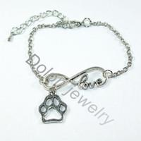 Wholesale Cheap Cat Pendant - Wholesale-Infinity 8 Love Charm Dangle With Dog Cat Paw Print Pendant Chain Bracelet Cheap Fashion Pet Jewelry