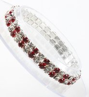 Wholesale Tennis New Ring - MIC New 3sizes Red Spring Silver Plated 2-Rows Crystal Rhinestone Bracelets Tennis Fashion Jewelry hot sell
