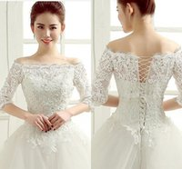 Wholesale Sequin Shrugs - New Style Hot Sale Brida lBolero Jacket Lace Jacket Bolero Shrug Elegant Wedding Jacket Bridal Wraps