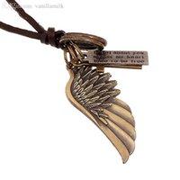 Wholesale Wholesale Men Jewelery - Wholesale-Vintage Maxi Colar Masculio Couro Male Leather Necklace Angel Wings Neckless Men Best Friends Jewelery PB002