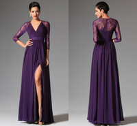 Wholesale Elie Wedding - Cheap Purple Prom Dresse 2015 Spring Summer A-line V Neck Evening Dresses Lace Elie Prom Dresses Wedding Party Dresses Evening Gowns