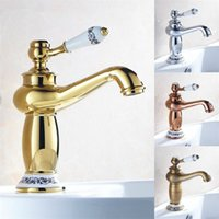 Wholesale Luxury Antique Sinks - Free shipping 2015 new design luxury bathroom faucet,4 colors bathroom faucets,gold,chrome,antique and rose golden bathroom sink mixer tap