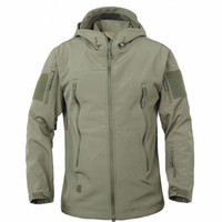 Wholesale Camping Raincoats - Army Camouflage Coat Military Outdoor Jacket Climbing Hiking Men Soft Shell Waterproof Windproof Jacket Coat Plus Raincoat