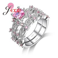 Wholesale Couples Beautiful - Wholesale- JEXXI Hot Selling 2PCS Beautiful Wedding 925 Sterling Silver Women Pink Cubic Zirconia Crystal Couple Rings Set Trendy Jewelry