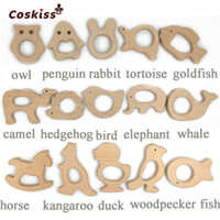 Wholesale handmade organic - DIY Baby Teether Toys Set Organic Natural Beech Wooden Toy Handmade Smooth Baby Wooden Animals Teether Make Baby Smart Ability