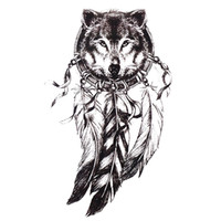 1pc Sketch Black Tattoo Sticker Donna Uomo 3D Body Art Lupo Dreamcatcher Indiani adesivi piuma tatuaggio temporaneo
