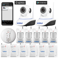Wholesale wireless security devices for sale - Kerui Wireless IP Wifi Camera P HD Wireless Smoke Detector Fire Sensor For GSM Home Security Alarm System Surveillance Device