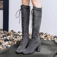 Wholesale Thigh Boots Cross - High Heel Women Winter Boots Front Lace Up Cross-tied Shoes Brand Super Star Runway Shoe Long Booties Side Zip Chaussures Femmes