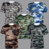 Wholesale Camo T Shirts Wholesale - Summer Outdoors Hunting Camouflage T-shirt Men Breathable Army Tactical Combat T Shirt Military Dry Sport Camo Outdoor Camp Tees