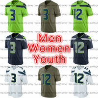 Wholesale Cheap Vapors - Cheap Men's Women's Youth American Football #3 Jersey Navy White Green Olive #12 Salute To Service Vapor Limited American Football Jerseys