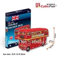 Wholesale 3d Bus Puzzle - Wholesale-Double Decker Bus CubicFun 3D educational puzzle Paper & EPS Model Papercraft Home Adornment for christmas gift
