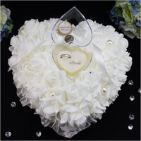 Wholesale Pearl Rose Ring - Heart Shape White Crystals Pearl Bridal Ring Pillow Organza Satin Lace Bearer Flower Rose Pillows Bridal Wedding Supplies