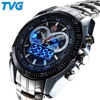 Wholesale Tvg Steel Watch - Brand TVG Stainless Steel Luxury Men's Clock Fashion Blue Binary Sports LED Watch Wristwatches 30AM Waterproof Watches KM-468 Drop Shipping