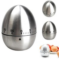 Wholesale common electronics - Egg Shape Timers Creative 60 Minutes Alarm Countdown Stainless Steel Cooking Tool For Kitchen Articles 11 5my C R