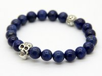 Wholesale Lapis Stone Ring - Wholesale Men Beaded 2015 New Design Top Quality Lapis Lazuli Beads Antique Silver Skull Bracelets Semi Precious stone Jewerly