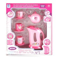Wholesale Electric Cupping Set - Wholesale-Girl's cooking toy electric kettles 5 teaports cup kitchen set toys