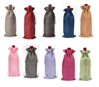Wholesale Wine Bottles Gifts Covers - Wholesale jute wine bottle bag champagne bottle cover linen gift bag hessian Hessian high quality