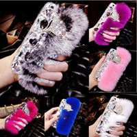 Wholesale Ladies Head Cover - Rabbit Hair Fur Fox Head Bling Diamond Rhinestone TPU Case Soft Touch Warm Fur Luxury Women Girl Lady Cover For iPhone X 8 7 Plus 6 6S
