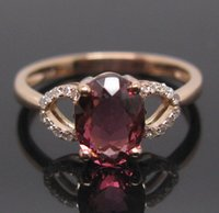 Spedizione gratuita Natural Pink Tourmaline Engagement Diamonds Ring Solid 14K Rose Gold (R0067)