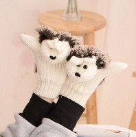 Wholesale Gloves Cartoon - Hot Sale Autumn Winter Gloves Women Mittens Cute Lovely Cartoon Knitted Hedgehog Glove Novelty Knitted Finger Hedgehog Gloves 9 Colors