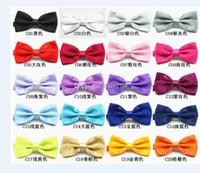 Wholesale pre tied neckties - New Mens Pure Plain Bowtie Polyester Pre Tied Wedding Bow Tie silk tie black and white necktie silk tie