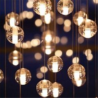Wholesale G4 LED Crystal Glass Ball Pendant Lamp Meteor Rain Ceiling Light Meteoric Shower Stair Bar Droplight Chandeliers Lighting AC110V V